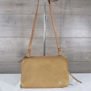 Madewell Twin Pouch Tan Leather Crossbody Bag